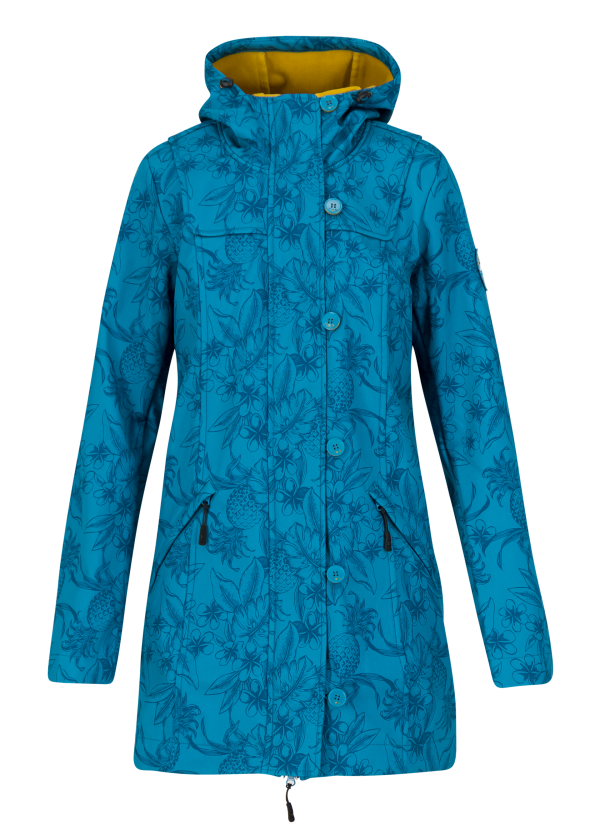 """Blutsgeschwister: Softshell-Parka wild weather long anorak """"Tropical Shades"""""""