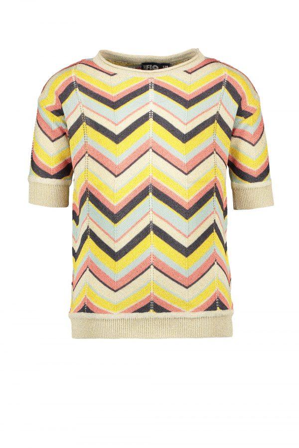 Like FLO: Gebreide multi colour zigzag top