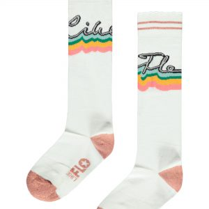 Like FLO witte zomerse sokken. Deze sokken zijn zo vrolijk! Dit komt doordat Like Flo in geschreven staat met regenboog kleurtjes.