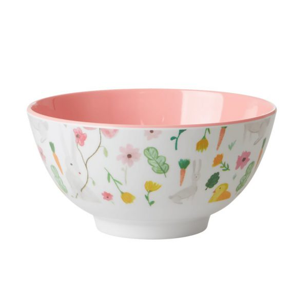 Rice: Medium Melamine Bowl - White - Easter Print