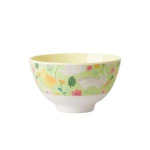 Rice: Small Melamine Bowl - Apple Green - Easter Print