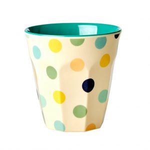 Rice: Medium Melamine Cup - Cream - Dots Print Green