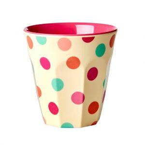 Rice: Melamine Cup - Cream - Dots Print