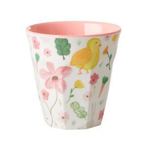 Rice: Medium Melamine Cup - White - Easter Print