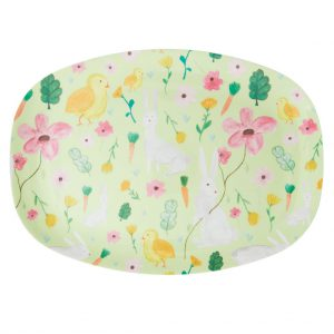 Rice: Rectangular Melamine Plate - Apple Green - Easter Print