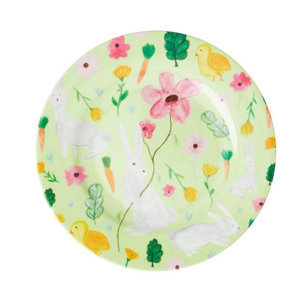 Rice: Round Melamine Side Plate - Apple Green - Easter Print