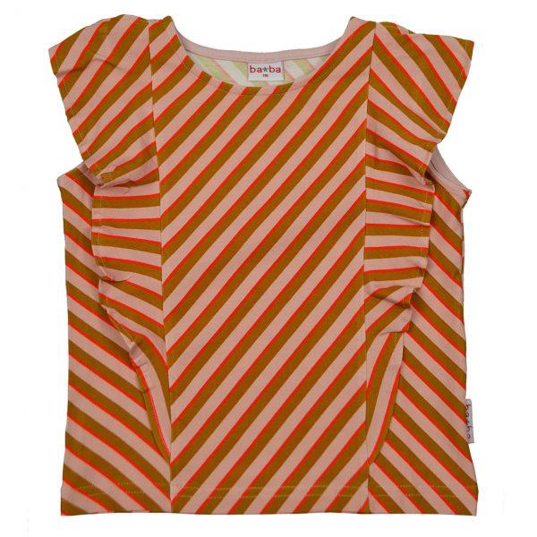 Ba*Ba Kidswear: Shirt RUFFLE diagonal pink RUFSHIRT/DIAP/S21