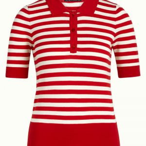 King Louie: Polo Top Classic Stripe Chili Red