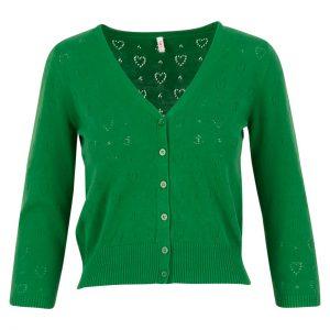 Blutsgeschwister: Logo cardigan v-neck 3/4 arm green anchor ahoi