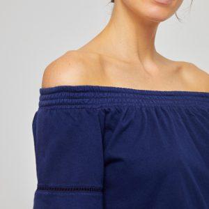 Surkana: Bardot neckline T-shirt Navy blue