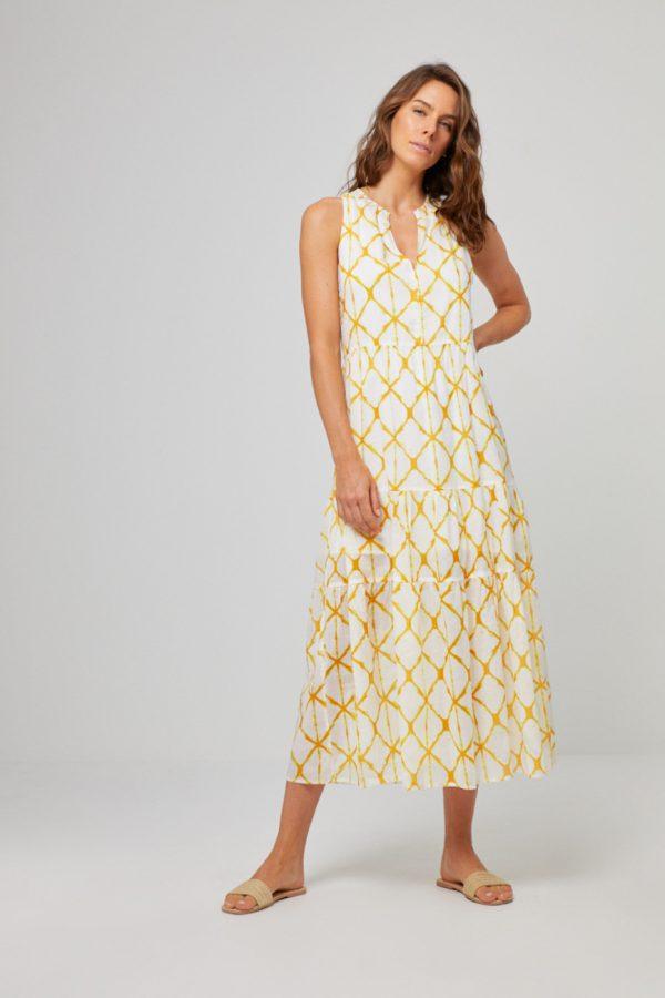 Surkana: Maxi jurk mouwloos YELLOW