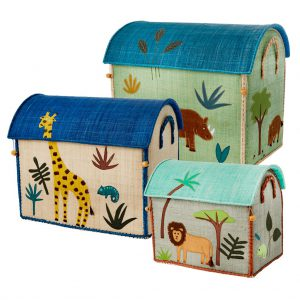 Rice: Raffia Storage Basket - Assorted Colors - Jungle Animals Print