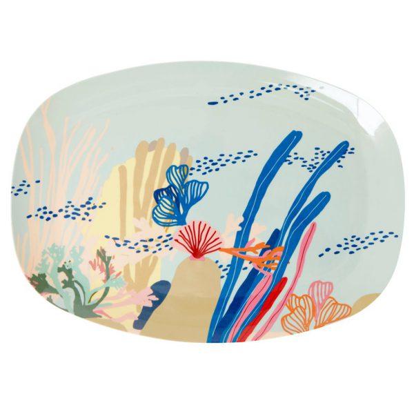 Rice: Rechthoekig Melamine bord - Coral print