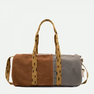 Sticky Lemon: Large duffle bag corduroy | walnut brown + pigeon blue + panache gold