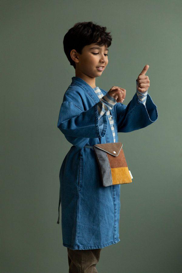 Sticky Lemon: Wallet bag | woody green + walnut brown + marigold + pigeon blue