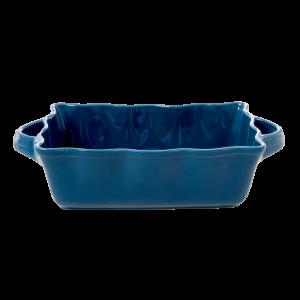 RICE: Medium rechthoekige taartvorm / ovenschaal - Aardewerk donker blauw