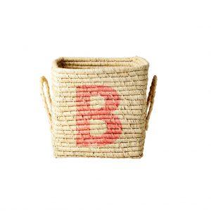 Rice: Vierkante Raffia mand - Natural - B - BSRAT-20B
