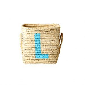 Rice: Vierkante Raffia mand - Natural - L - BSRAT-20L