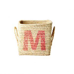 Rice: Vierkante Raffia mand - Natural - M - BSRAT-20M