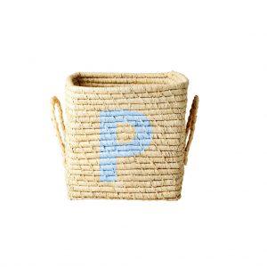 Rice: Vierkante Raffia mand - Natural - P - BSRAT-20P