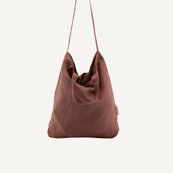 Monk & Anna: Baya washed linen shopper • chestnut