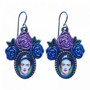 Urban Hippies: Oorbellen FRIDA blauw/paars