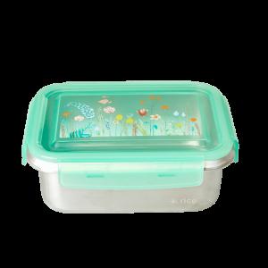 Rice: Grote metalen lunchbox - Sage Green - Summer Flowers Print STLUN-RESUF