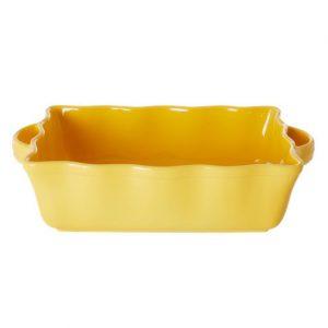 RICE: Grote rechthoekige taartvorm / ovenschaal - Aardewerk - Geel CEOVE-LY