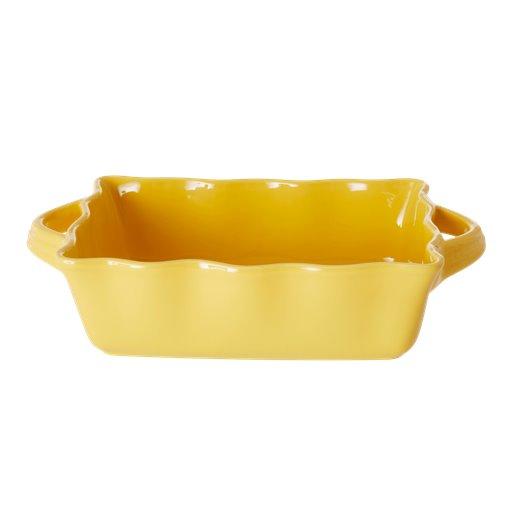 RICE: Medium rechthoekige taartvorm / ovenschaal - Aardewerk - Geel