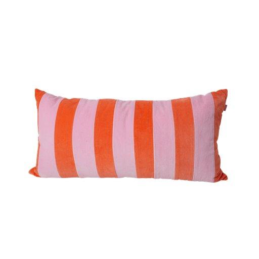 Rice: Groot kussen - Strepen oranje rozeCSREC-LSTROI