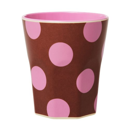 Rice: Melamine beker jumbo - Pink dots MELCU-JTDOTI