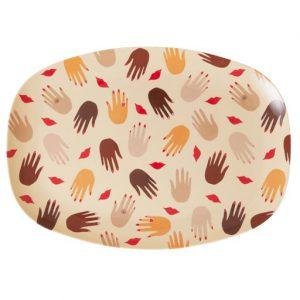 MELPL-HAN Rice: Rechthoekig Melamine Bord - Hands and Kisses