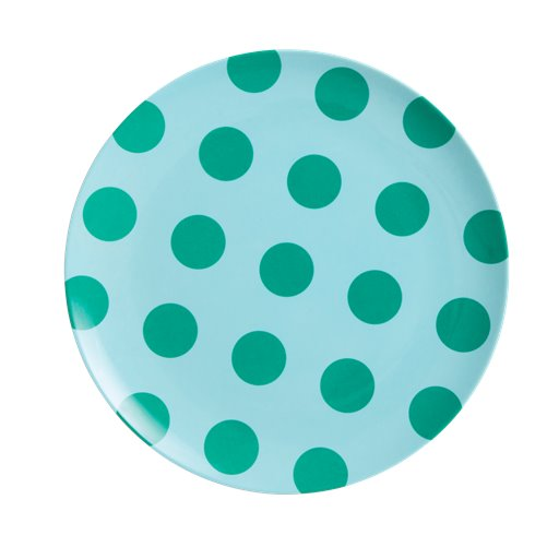 Rice: Melamine lunch bord - Green dots MESPL-TDOTG