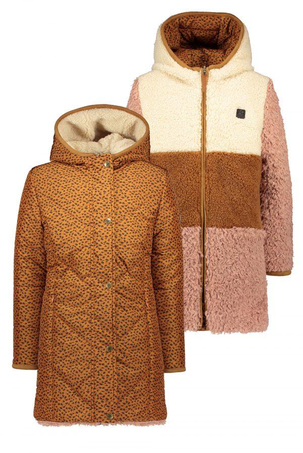 Like Flo: Reversible colour block hooded long jacket