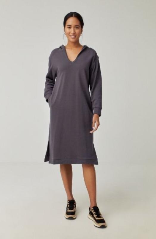 Surkana: Sweat jurk met capuchon grijs - 561NAKE711
