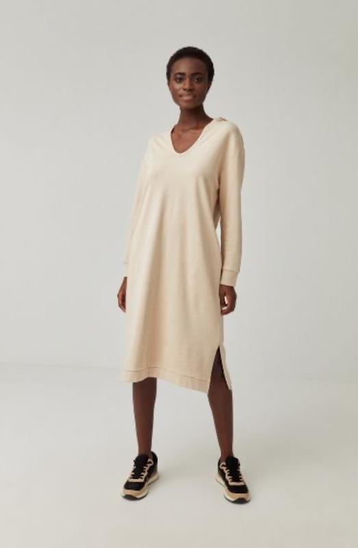 Surkana: Sweat jurk met capuchon ecru - 561NAKE711