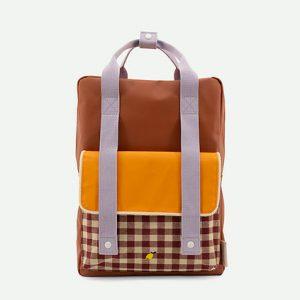 Sticky Lemon: Backpack large | gingham | chocolate sundae + daisy yellow + mauve lilac