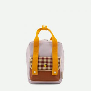 Sticky Lemon: Backpack small | gingham | chocolate sundae + daisy yellow + mauve lilac