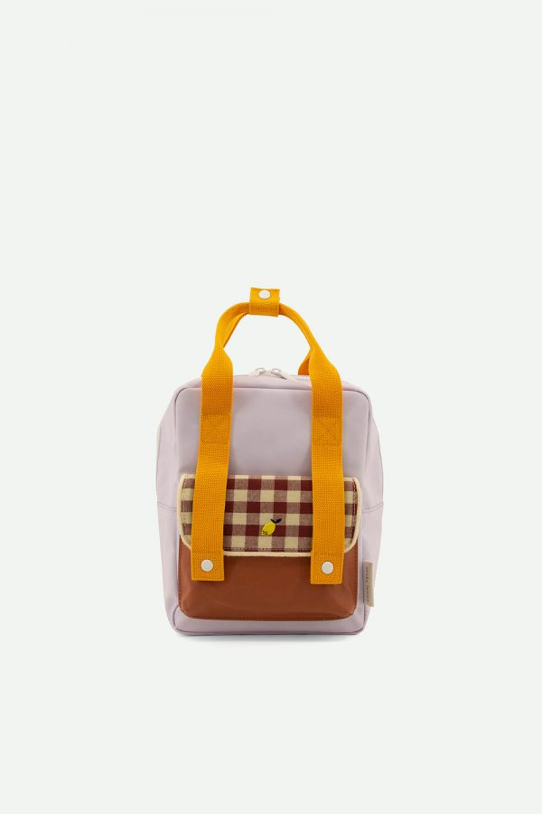 Sticky Lemon: Backpack small   gingham   chocolate sundae + daisy yellow + mauve lilac