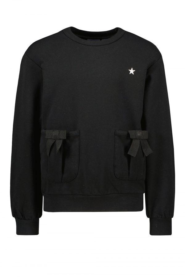 F109-5322_099 Like FLO: Sweater with bow - zwart