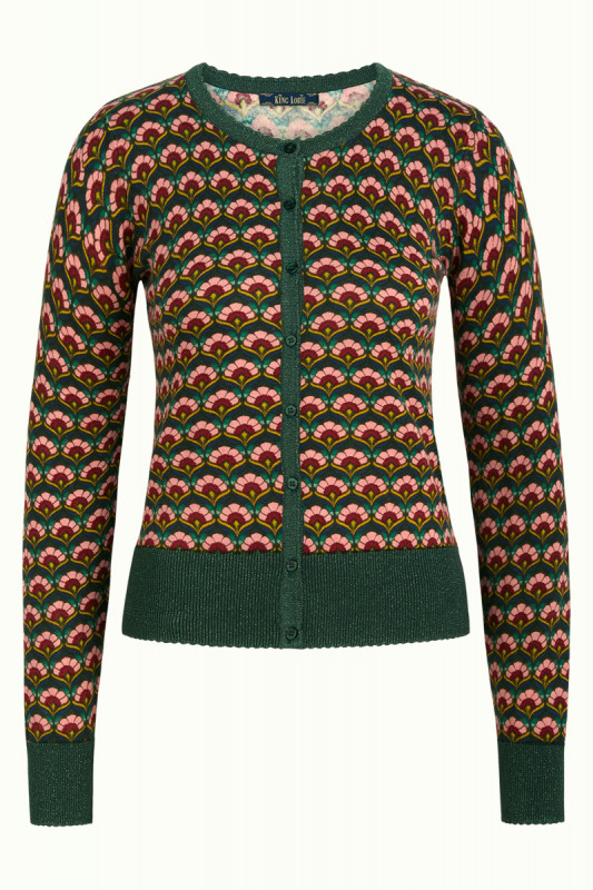 King Louie: Cardi Roundneck Muffin - Sycamore green